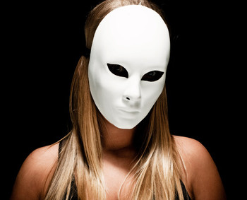 woman with white mask